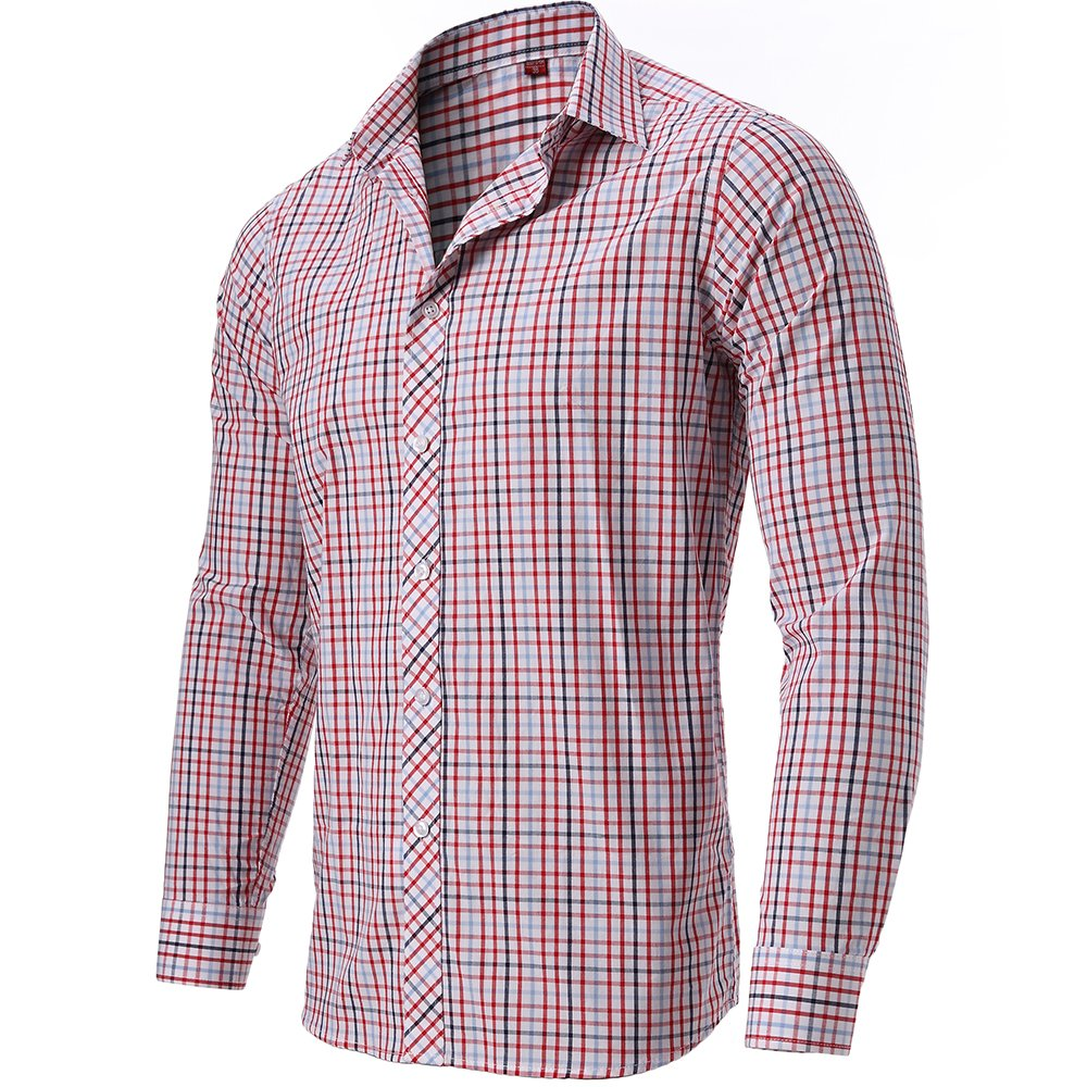 Fly Hawk Mens Plaid Dress Shirts Slim Fit 100 Cotton Casual Button