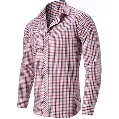 0c1f9c68e1a FLY HAWK Mens Plaid Dress Shirts Slim Fit 100% Cotton Casual Button Down  Shirts for Wedding/Party/Business