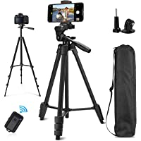 """Cell Phone Tripod, Sumcoo 53"""" Extendable Aluminum Tripod for iPhone with Portable Bag, Bluetooth Remote Shutter and…"""