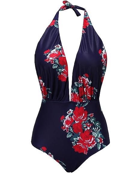 5ef308c1662 Tempt Me Women One Piece Vintage Fashioned Floral Printed V Plunge Neckline  Backless High Waisted Halter