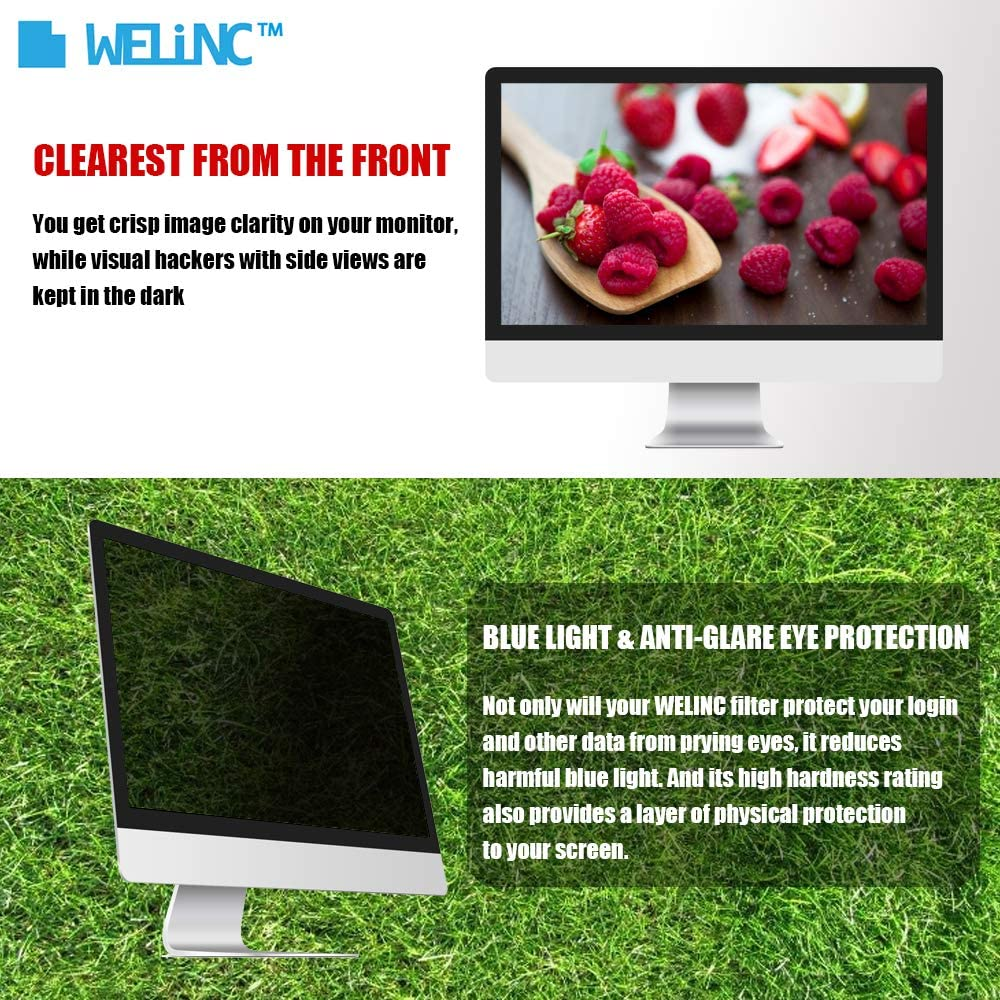 Protects Your Eyes from Harmful Glare and Blue Light WELINC 24 Inch Computer Privacy Screen Filter for Widescreen Monitor Anti-Glare 16:9 Aspect Ratio Anti-Scratch Protector Film