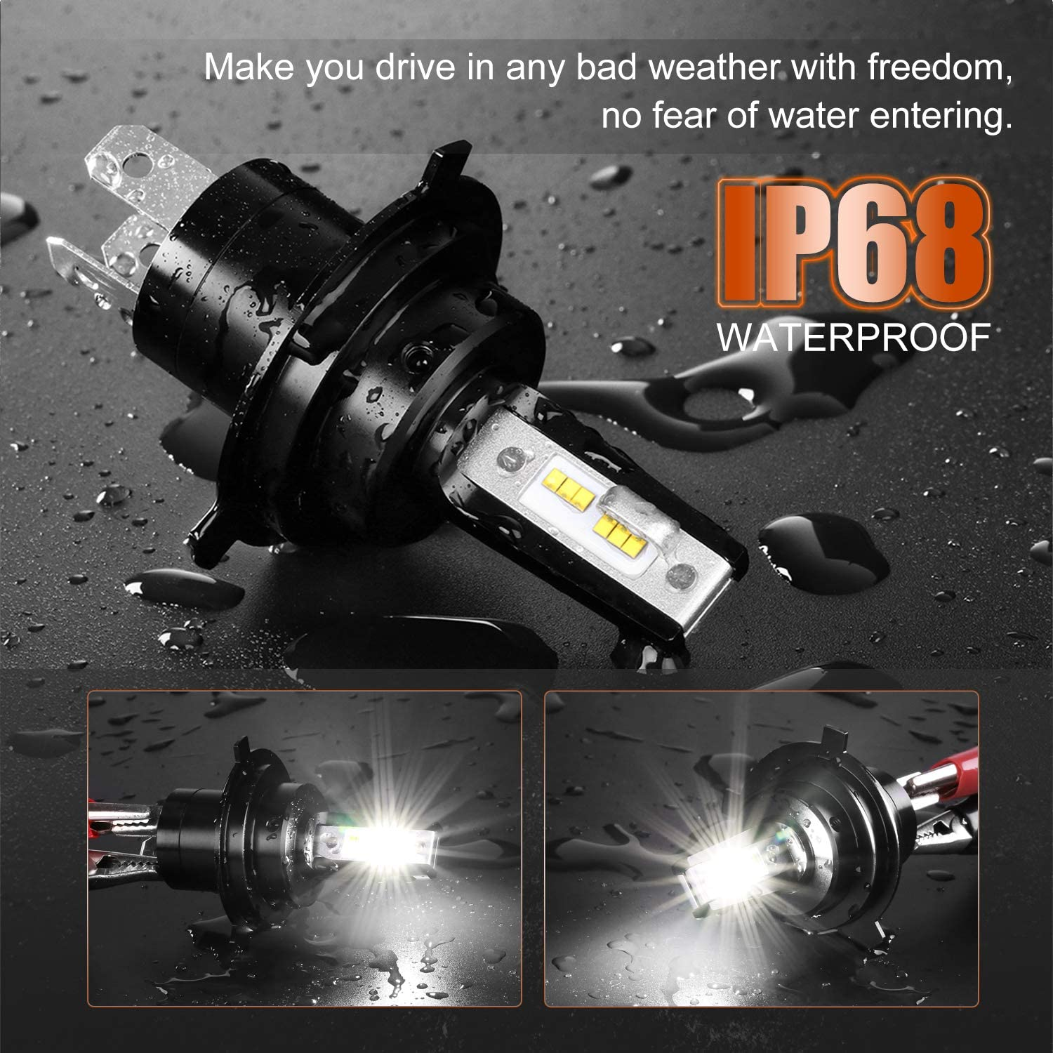 AutoFeel H4//9003 LED Motorcycle Headlight Bulb Mini Size 4000LM 6000K Lumileds Chip Super Bright Low High Beam Fog Lights Conversion Kit
