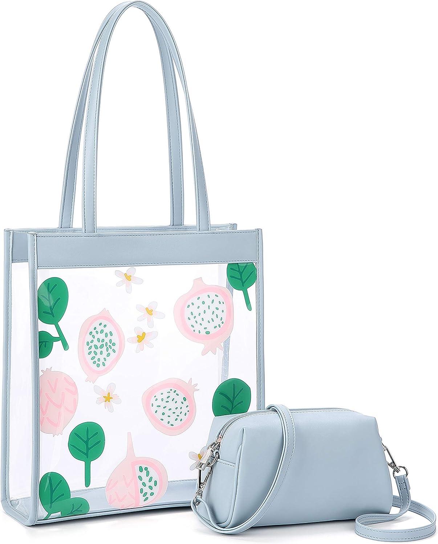 comprador escuela bolso de hombro de talla grande informal diario Kinsley Bolsos transparentes para mujer bolso de hombro para mujer con bolso peque/ño para el trabajo