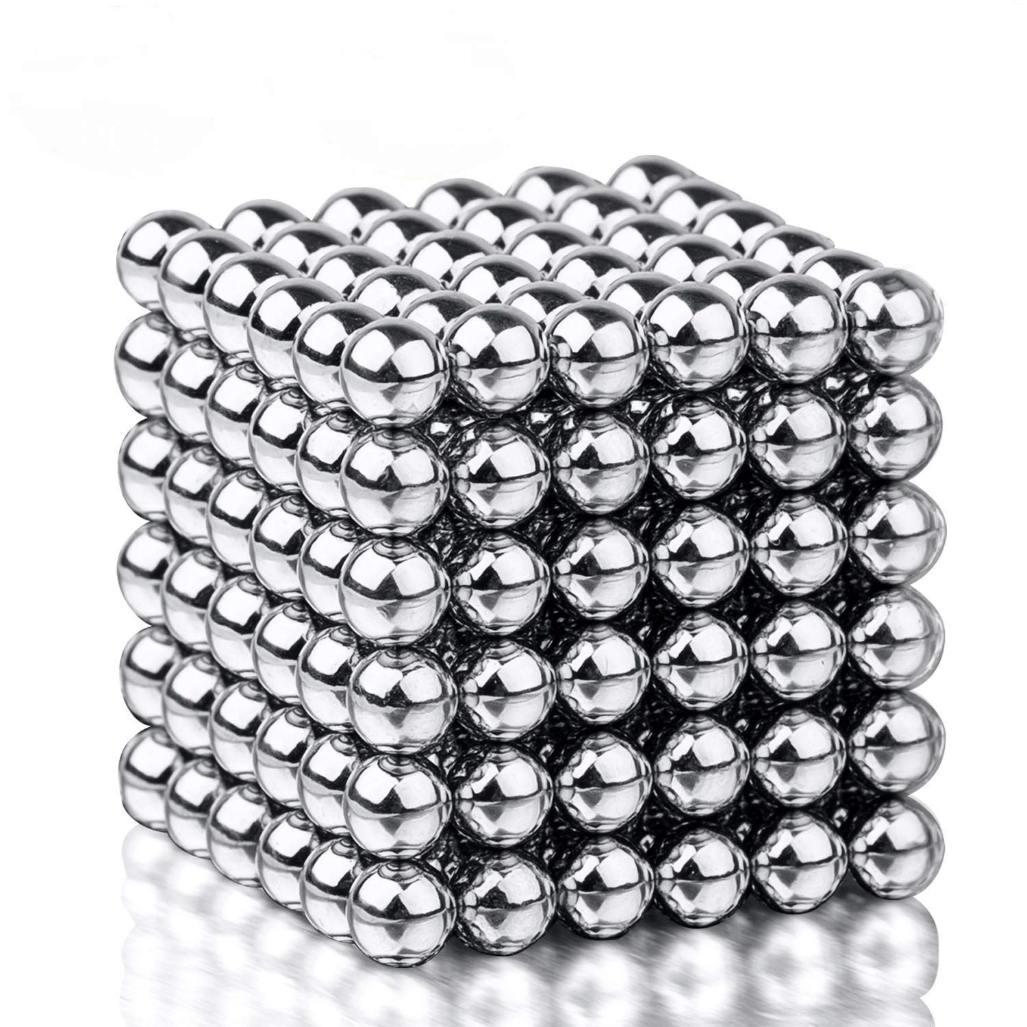 MagneBalls 5mm Magnetic Ball Sculpture Toy- Perfect for Crafts, Jewelry, Education and Intelligence Development. Fidget Cube Provides Relief for Office Stress, ADHD, Autism, and Anxiety (Chrome)