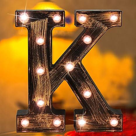 Set of 3 Home Decor LED Marquee Letter Lights Vintage Alphabet Light Up Lamps