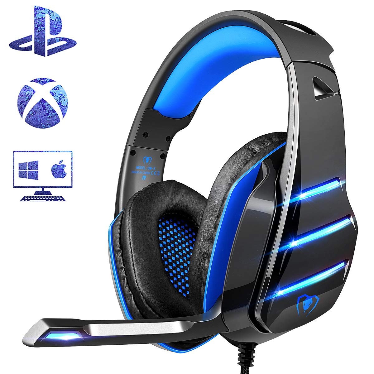 PS4 Gaming Headset with Mic, Beexcellent Newest Deep Bass Stereo Sound Over Ear Headphone with Noise Isolation LED Light for PC Laptop Tablet Mac (Blue) by Beexcellent