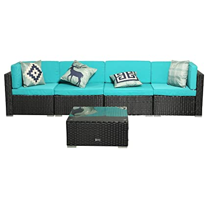 Swell Eclife Outdoor Rattan Sofa 5 Pcs Set Patio Pe Wicker Black Sofa Couch Furniture Set Removable Cushions W 4 Pillows W Tea Table 5Pcs Turquoise Uwap Interior Chair Design Uwaporg