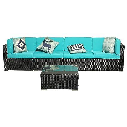 Amazon.com: Eclife - Juego de sofás de ratán para exteriores ...