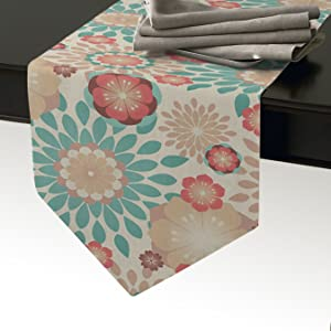 Cloud Dream Home Modern Boho Floral Pattern Table Runner for Morden Greenery Garden Wedding Party Table Setting Decorations,14 x 72 Inches