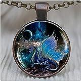 GlowlalaBlue Dragon Pendant, Blue Dragon Necklace, Dragon Jewelry, Space Necklace, Nebula, Dragon Wings Jewelry,