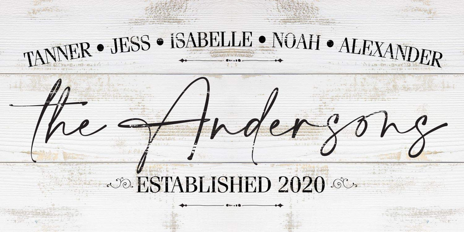Personalized - Family Name - Large Canvas Wall Art (Not Printed on Wood) - Stretched on a Heavy Wood Frame - Perfect Above Couch/Headboard Decor -Great Housewarming/Special Gift