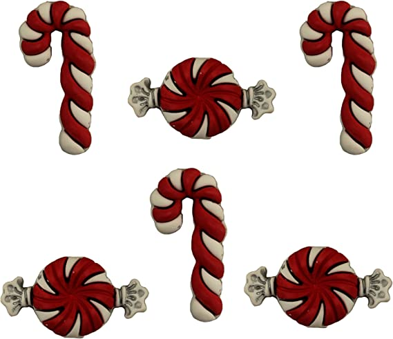 Buttons Galore Buttons ~ PEPPERMINT PAIRS  ~ Sewing ~ Candy Canes Craft