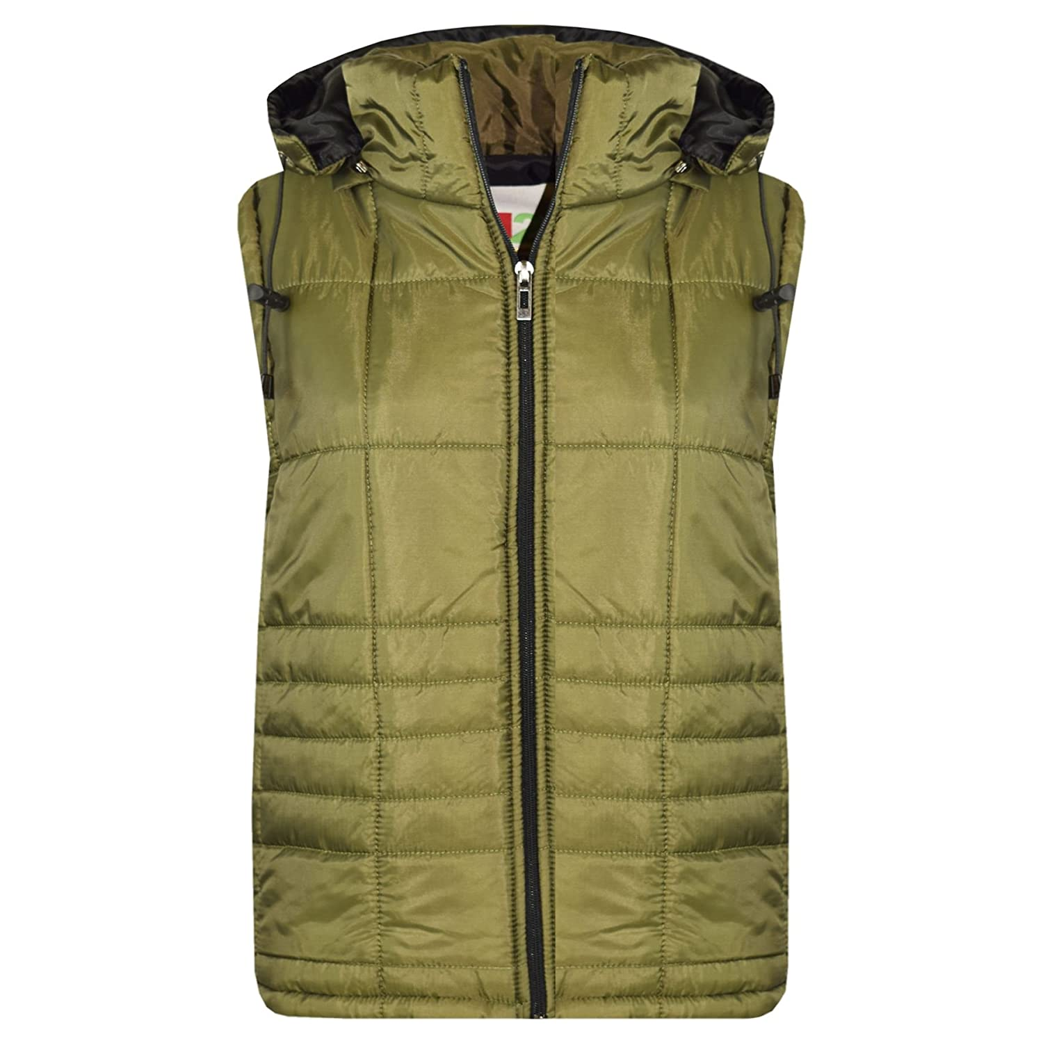 A2Z 4 Kids/® Kids Girls Boys Designers Olive Sleeveless Hooded Padded Quilted Lined Gilet Bodywarmer Fashion Jackets Age 5 6 7 8 9 10 11 12 13 Years