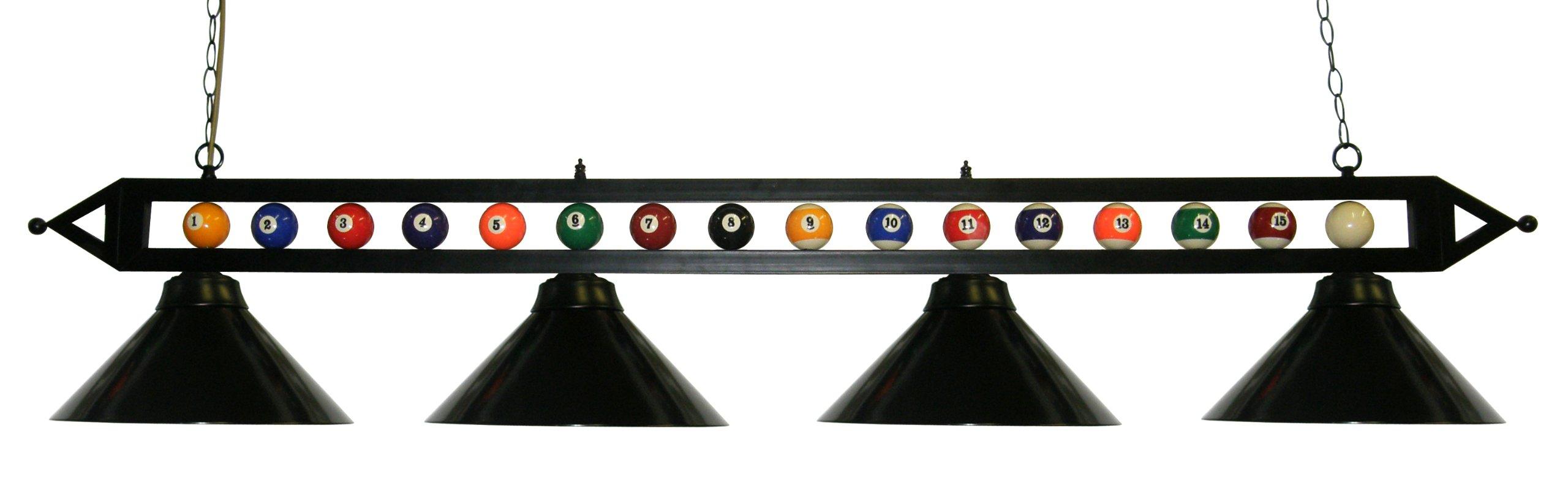 72'' Black Metal Ball Design Pool Table Light Billiard Lamp Choose Black, Red, Green Metal Shades or White Glass (Black Metal Shades)