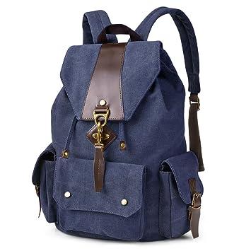 Amazon.com   VBG VBIGER Canvas Backpack Vintage Canvas Leather Backpack  Casual Bookbag Laptop Backpacks Travel Rucksack for Men Women   Kids   Backpacks e4acb6e796