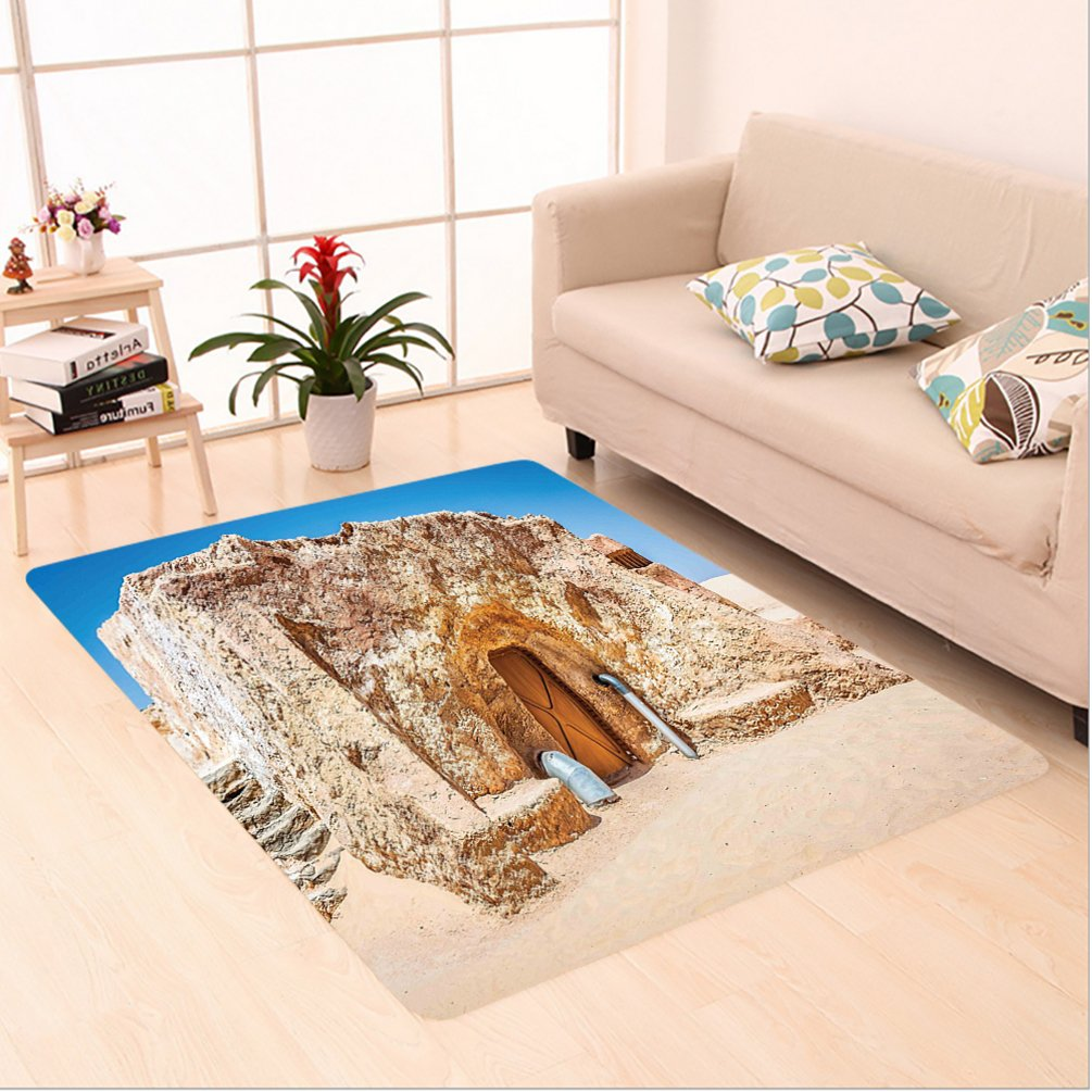 Nalahome Custom carpet xy One of Abandoned Sets of the Movie in Tunisia Desert Phantom Galaxy Wars Themed es Brown Blue area rugs for Living Dining Room Bedroom Hallway Office Carpet (6' X 9')