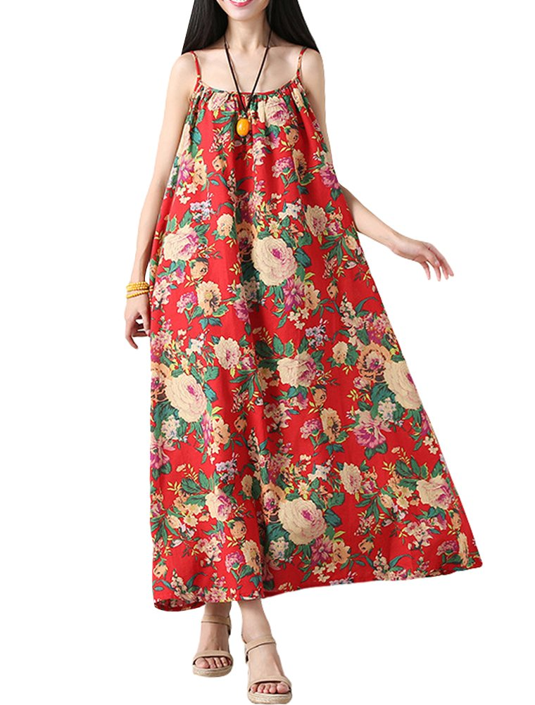 Mordenmiss Women's Summer Spaghetti Strap Flowers Long Sundress S Red