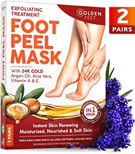 Foot Peel Mask - 2 pack - Make Your Feet Baby Soft - Dry Dead Skin Exfoliating Callus Remover - Peeling Masks with 24K Gold & Argan Oil - Repair Rough Cracked Heels - Foot Care for Men & Women