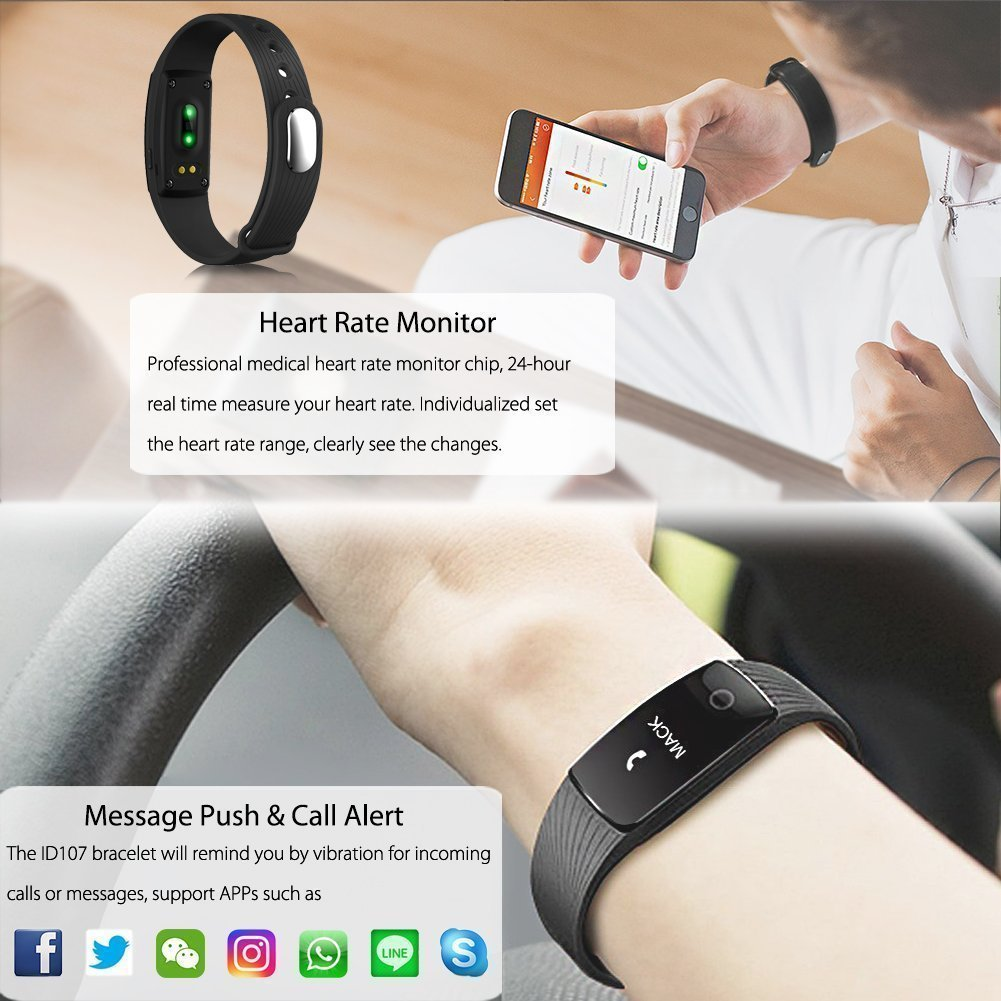 Aihontai Fitness Tracker Heart Rate Monitor, ID107 Fitness Watch Activity Tracker Bluetooth 4.0 Calorie Counter Life-Waterproof Fitness Band with Soft ...