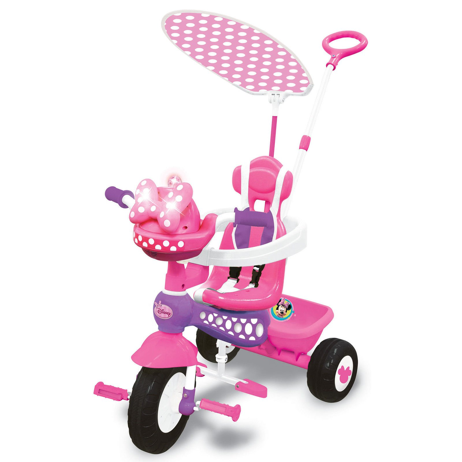 Kiddieland Minnie Mouse Push N' Ride 3-in-1 Trike + Sun Shade & Music