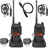 Retevis RT-6 Paire de Talkies Walkies IP67 Imperméables Antipoussières VOX 128 Canaux VHF UHF 5/3/1W(Noir)