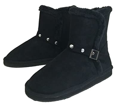 SV-91013 Women's Winter Boots Faux Suede Shearling Fashion Buckle Studs Fur Lined Ankle Warm Shoes Black Grey Camel