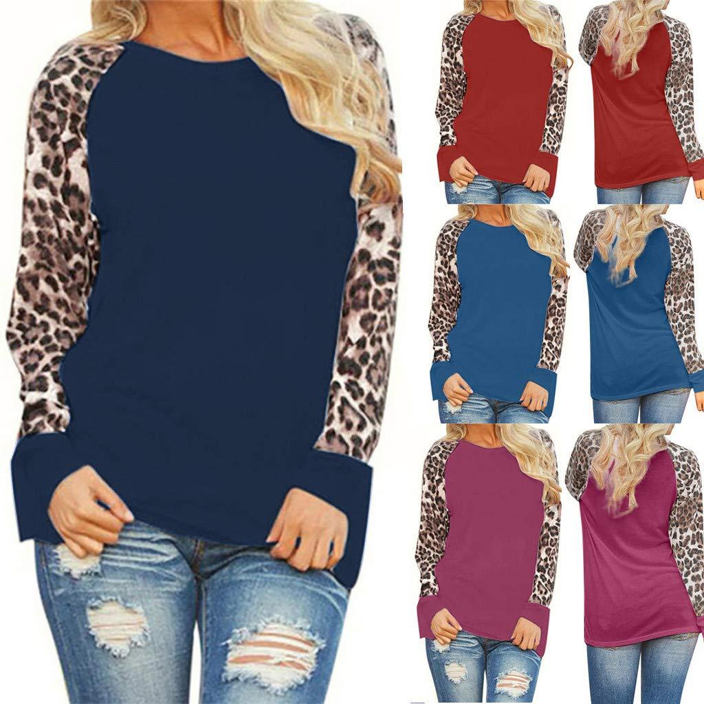 WOCACHI Womens Color Block Long Sleeve Tunic Floral Leopard Tops Blouses Shirt