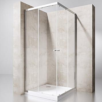 Einzigartig Duschwand mit Doppel-Schiebetür 75x90 cm Eckeinstieg Echtglas  QY54