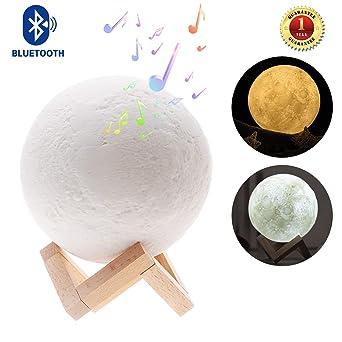 Luna Bois Lampe Pour Moon ChambreSalonAmbiance Décoration Lune Support De Veilleuse Avec Enceinte MusicaleLed Sense Bluetooth Et En zUSMVp