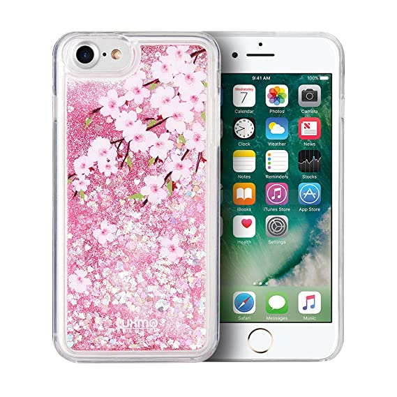 release date: 3c044 bffdf Cherry Blossoms Cascading Liquid Glitter Waterfall Case for iPhone 8 Plus &  iPhone 7 Plus