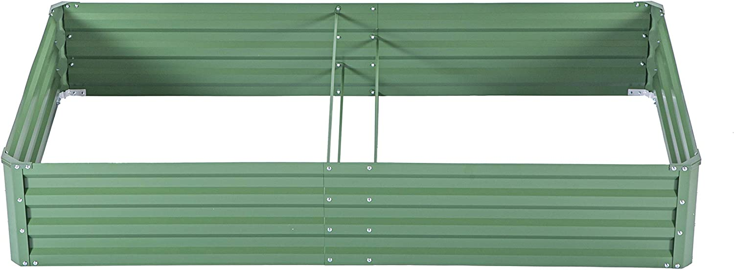 zizin Galvanized Raised Garden Beds Kits Metal Elevated Planter Box Steel Vegetable Flower Bed Kit Bottomless for Flowers Herbs Fruits Outdoor Patio Frame, Green (5.6 x3x1ft)