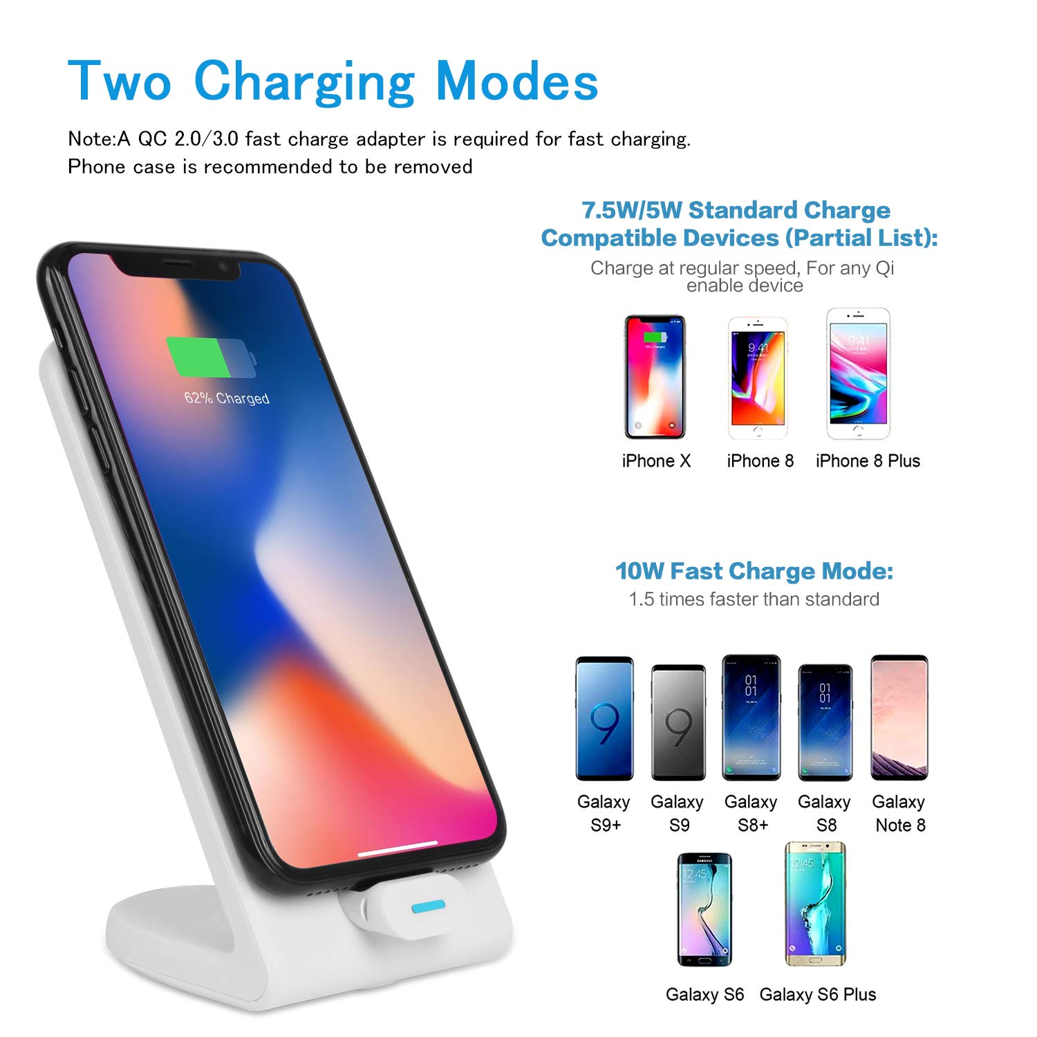 8//8 Plus,Samsung Galaxy S9 Plus Negro XLTOK Cargador Inal/ámbrico R/ápido 10W Fast Wireless Charger para iPhone XS//XS MAX//X S9 S8 Note 8