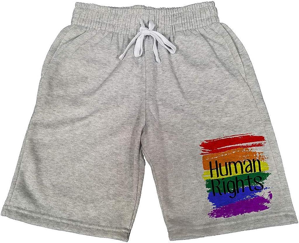 Mens Rainbow Paint Human Rights B794 Gray Fleece Jogger Sweatpants Gym Shorts