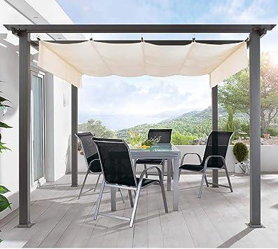 Pureday - Carpa Tipo pérgola para terraza, Estructura de Aluminio y Techo de poliéster, sin Pisos, 290 x 290 x 220 cm, Color Beige Oscuro: Amazon.es: Jardín