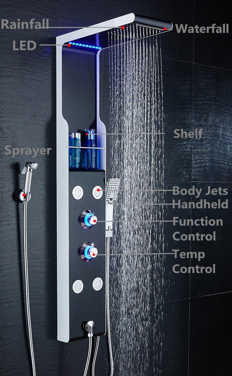 ELLO&ALLO Stainless Steel Shower Panel Tower System LED Rainfall ...