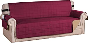 "H.VERSAILTEX Sofa Slipcover Reversible Couch Cover Foam Quilted Sofa Covers for Dog Water-Repellent Furniture Protector with Side Pocket Seat Width up to 70"" (Sofa, Burgundy/Tan)"