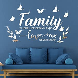 3D Acrylic Mirror Wall Decal Stickers Family Letter Quotes Acrylic Mirror Decor Removable Wall Art Decals DIY Motivational Butterfly Mural Stickers for Office Home Dorm Decor (Silver)