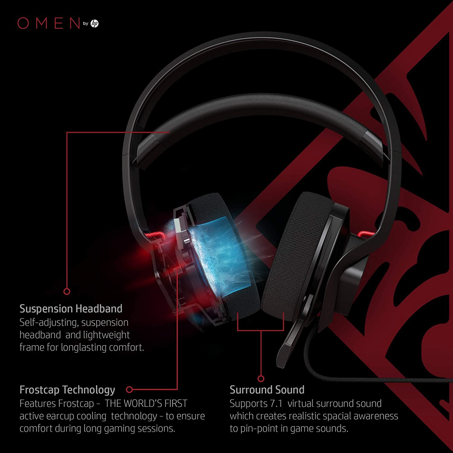 OMEN by HP Mindframe PC Gaming Headset with World s First FrostCap Active Cooling Technology black