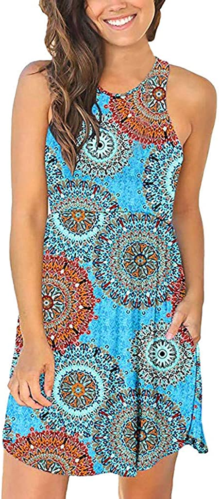 ShenPourtor Womens Dress Summer Sleeveless Loose Floral Printed Dresses Casual Short Dress with Pockets