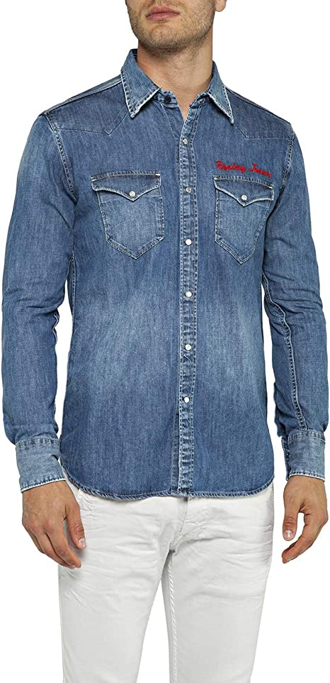 REPLAY M4981r.000.26c 490 Camisa Vaquera, Azul (Medium Blue 9), Hombre: Amazon.es: Ropa y accesorios