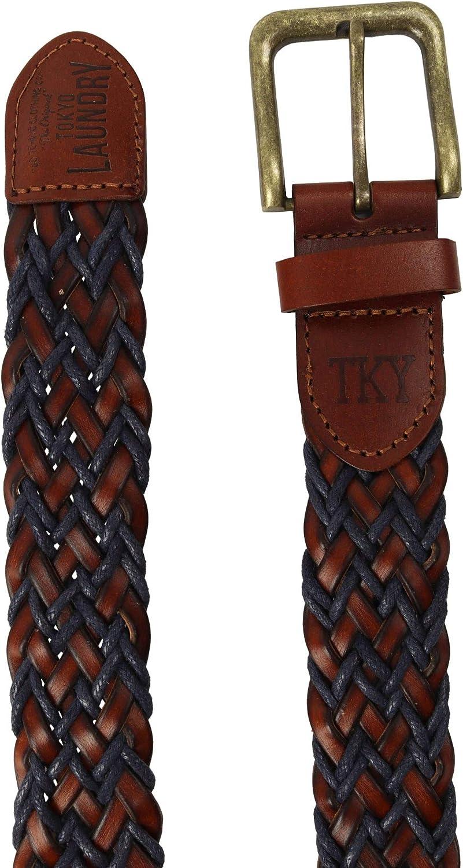 Cintur/ón de piel trenzada para hombre Tokyo Laundry