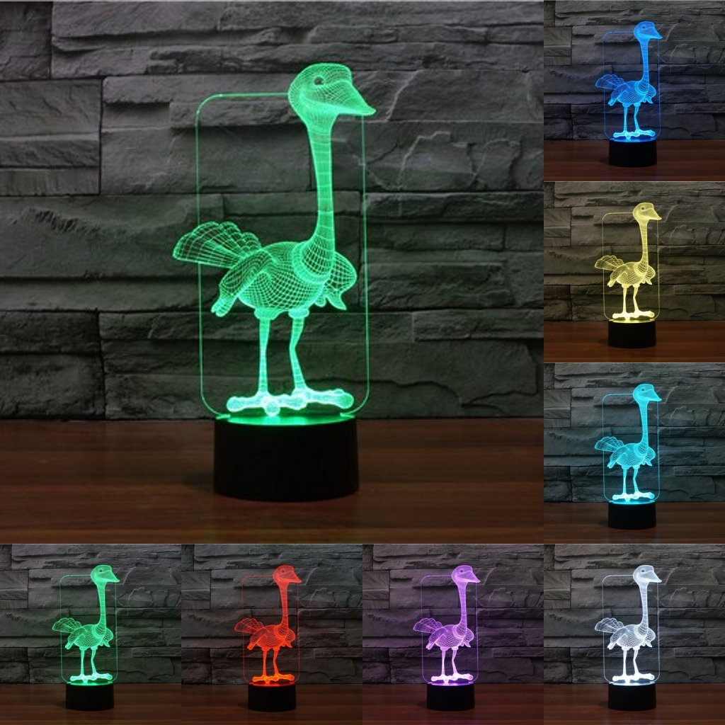 Animal Pet Collection 3D Illusion Night Light, Touch Table Lamp for Children Gift, 7 Colors Changing with Acrylic Flat & ABS Base & USB Charger ostrich