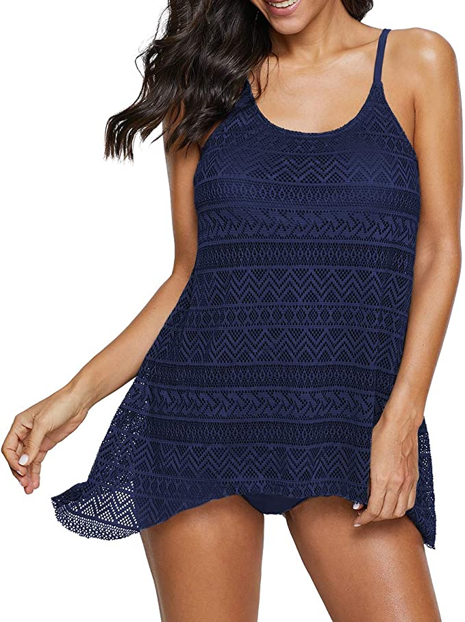 American Trends Womens Two Piece Ruffled Flounce Printed Swimsuits Tummy Control Tankini with Boyshort Bathing Suits