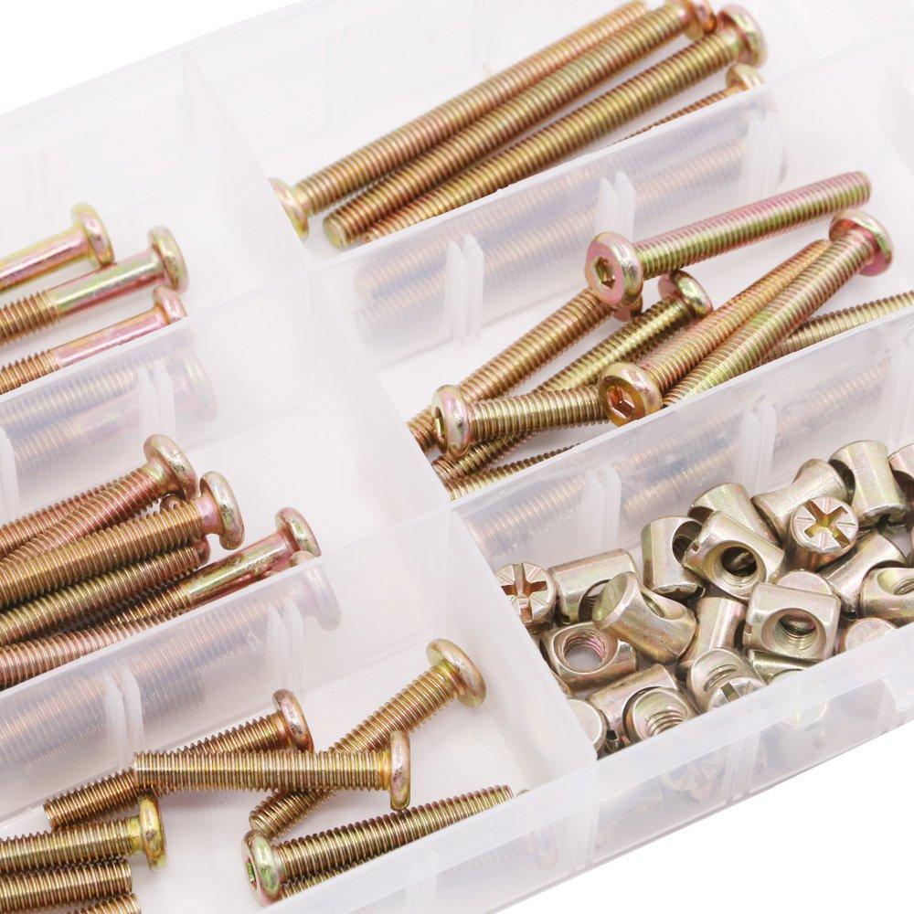35mm 65mm 75mm 55mm Glarks 100Pcs Zinc Plated M6 Hex Socket Head Cap Screws Bolts Furniture Bolts with Barrel Nuts Assortment Kit 45mm