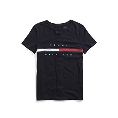 a925506313 Tommy Hilfiger Women s Adaptive Seated T Shirt with Magnetic Buttons Signature  Stripe Tee