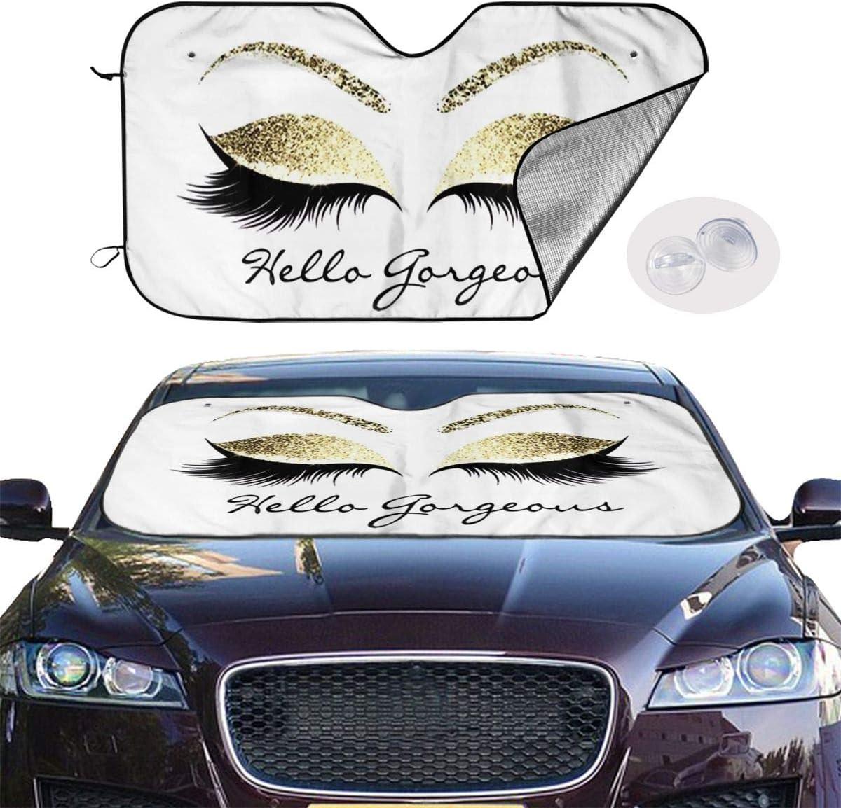 TianHeYue Hello Gorgeous Eyelash Car Windshield Sun Shade Universal Fit Car Sunshade-Keep Your Vehicle Cool UV Sun and Heat Reflector 130x70cm