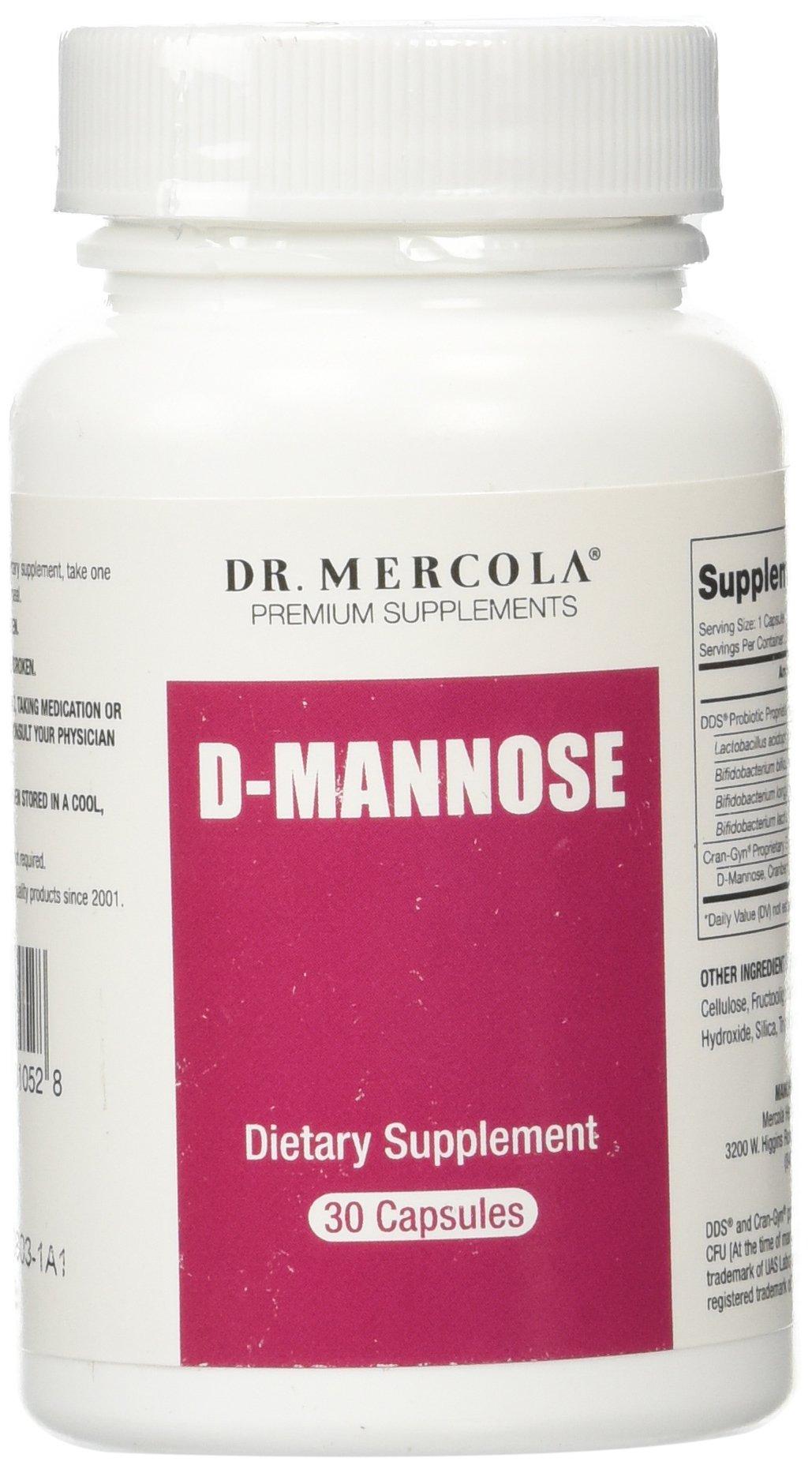 Dr Mercola D-Mannose - 30 Capsules - DDS Probiotic Proprietary Blend - Cran-Gyn Proprietary Bland - Premium Dietary Supplement