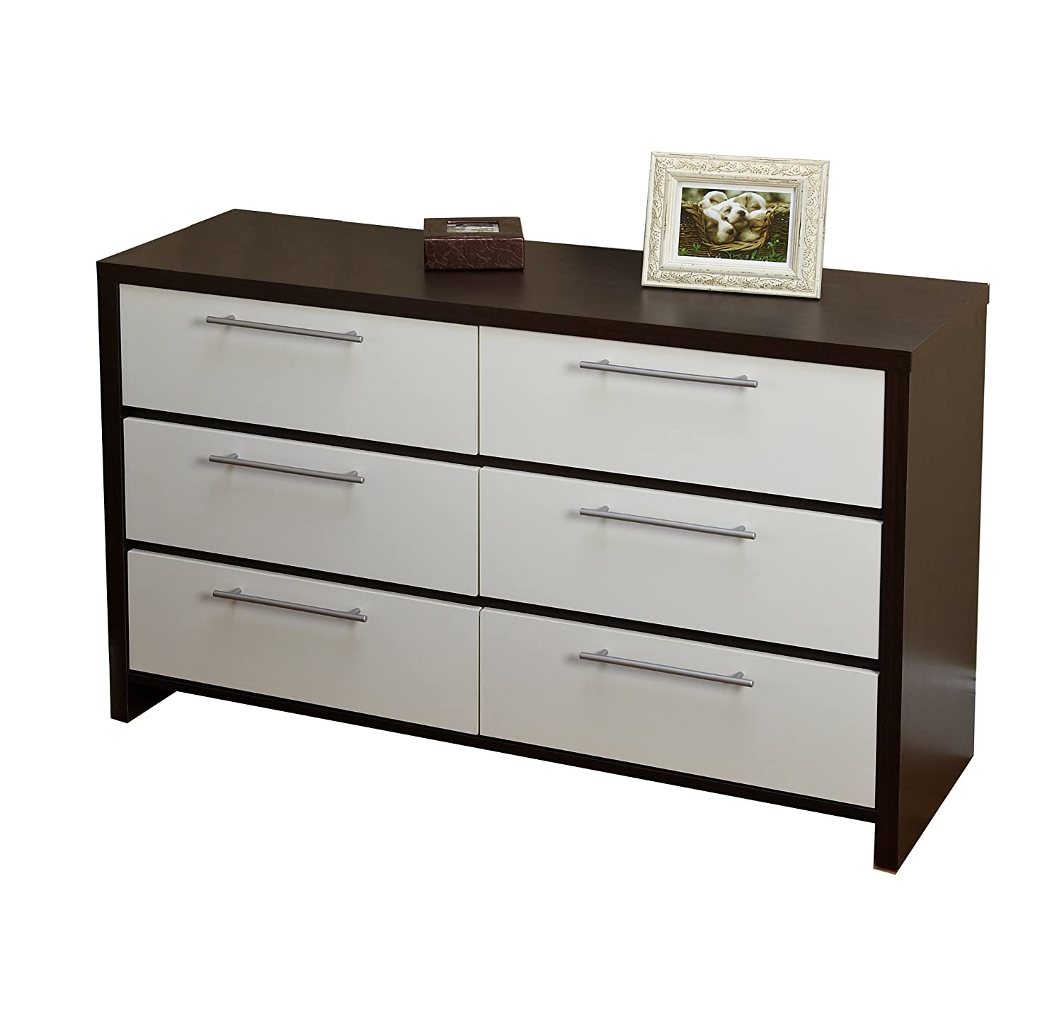 Amazon.com: Target Marketing Systems Contemporary 6 Drawer Accent Chest,  Espresso/White: Kitchen U0026 Dining