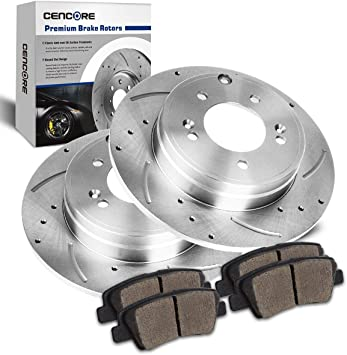 2010 2011 2012 2013 for Kia Soul Coated Drilled Slotted Rotors and Pads Rear