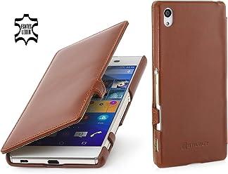 StilGut Book Type Case con Clip, Custodia in Vera Pelle a Libro per Sony Xperia Z3+, Cognac